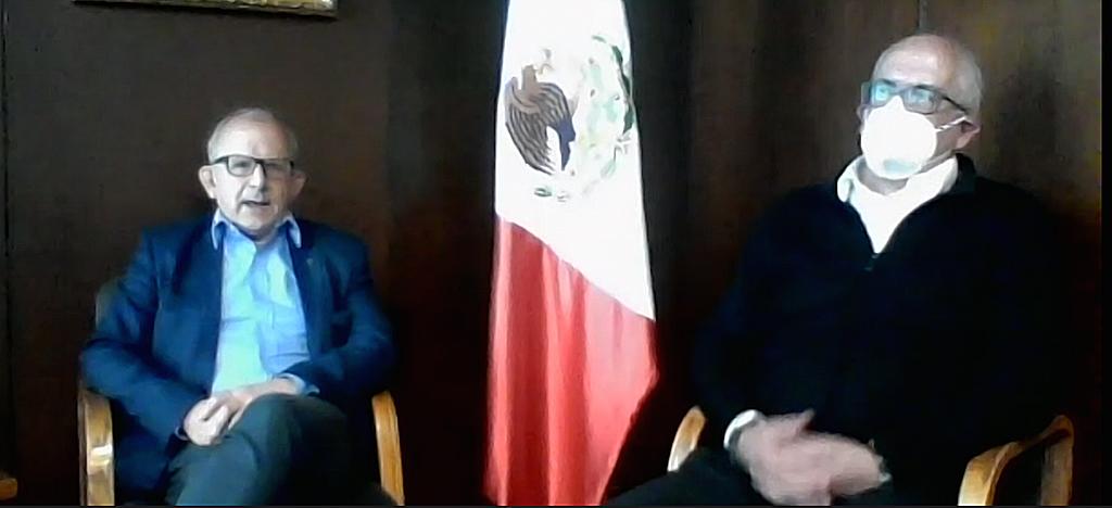 El director general del INAH, Diego Prieto Hernández y Antonio Saborit Director MNA. Captura de pantalla.
