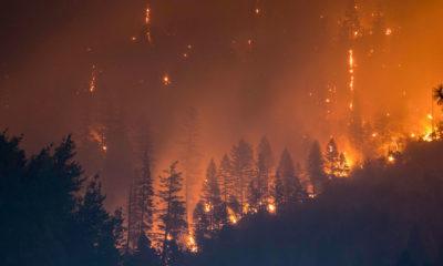 Un incendio masivo causado por condiciones extremedamente secas y cálidas en el Bosque Nacional Klamath en California, Estados Unidos.