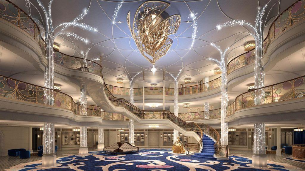 """Imagen cedida hoy por Disney que muestra un boceto del gran salón de su nuevo crucero, el """"Disney Wish"""", que con un diseño inspirado en los cuentos de hadas y con la primera atracción a bordo de un barco, """"AquaMouse"""", partirá desde Puerto Cañaveral (Florida) en junio de 2022 para su viaje inaugural."""