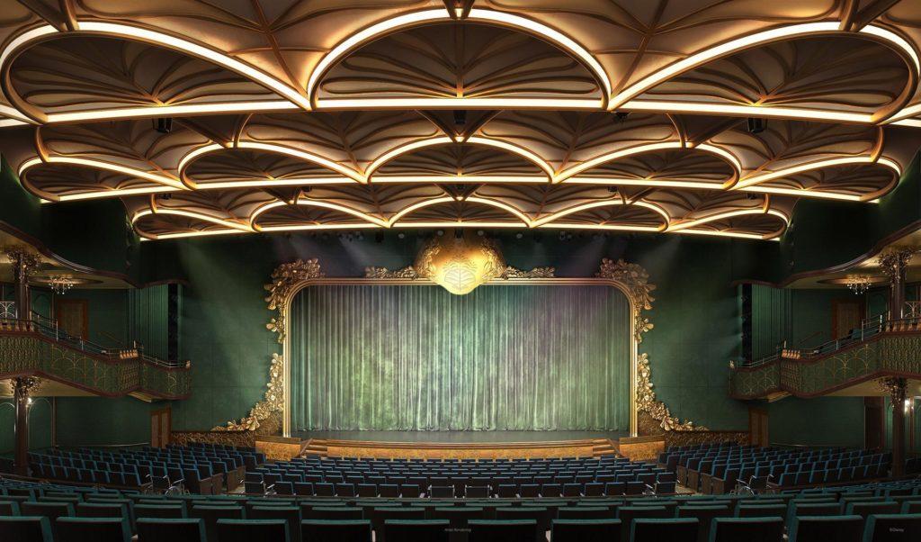 """Imagen cedida hoy por Disney que muestra un boceto de la sala de teatro de su nuevo crucero, el """"Disney Wish"""", que con un diseño inspirado en los cuentos de hadas y con la primera atracción a bordo de un barco, """"AquaMouse"""", partirá desde Puerto Cañaveral (Florida) en junio de 2022 para su viaje inaugural."""