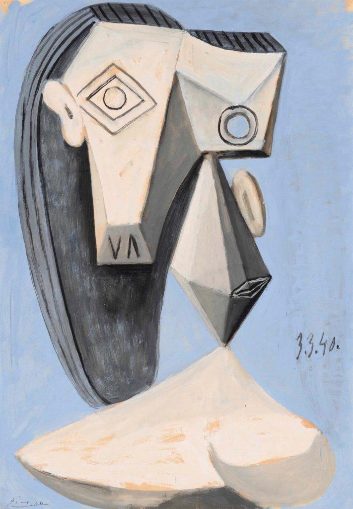 """EEUU SUBASTAS USA9128. NUEVA YORK (NY, EEUU), 03/05/2021.- Fotografía cedida por Christie's donde se muestra la obra """"Tette de femme"""" (1940) del pintor español Pablo Picasso que formará parte de la subasta vespertina del Siglo XX que celebrará esta casa de subastas la próxima semana. Los retratos de Pablo Picasso siguen estando entre las piezas más deseadas por los millonarios y amantes del arte, uno de los cuales podría superar los 55 millones de dólares en las subastas más importantes del año que celebrarán a mediados de mayo Sotheby's y Christie's, que este lunes abrieron las puertas de sus galerías para lucir estas piezas. EFE/Christie's"""