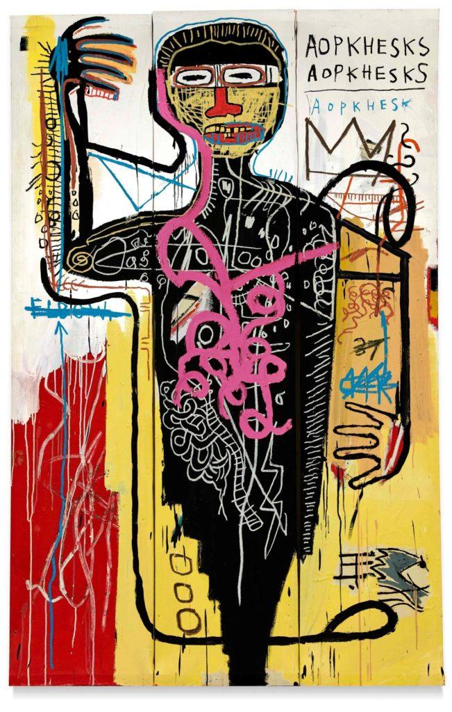 """EEUU SUBASTAS USA9130. NUEVA YORK (NY, EEUU), 03/05/2021.- Fotografía cedida por Sotheby's donde se muestra la obra """"Versus Medici"""" (1982) del estadounidense de origen haitiano y puertorriqueño Jean Michel Basquiat que formará parte de la subasta vespertina del Siglo XX que celebrará esta casa de subastas la próxima semana. Los retratos de Pablo Picasso siguen estando entre las piezas más deseadas por los millonarios y amantes del arte, uno de los cuales podría superar los 55 millones de dólares en las subastas más importantes del año que celebrarán a mediados de mayo Sotheby's y Christie's, que este lunes abrieron las puertas de sus galerías para lucir estas piezas. EFE/Sotheby's"""