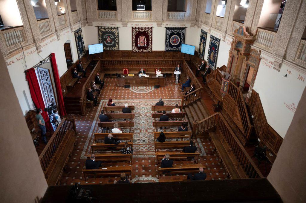 Vista general de la Cumbre de Académicos del Perfume celebrada hoy en el Paraninfo de la Universidad de Alcalá de Henares. EFE/Fernando Villar